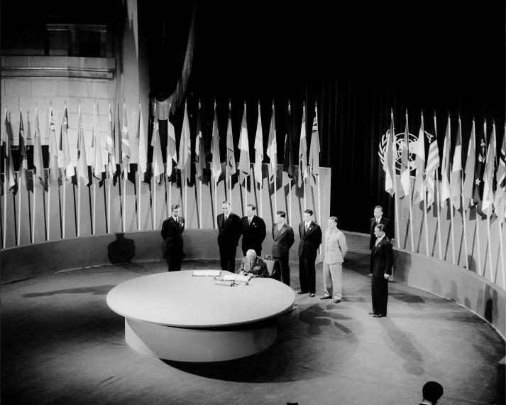 United Nations Charter signed on 26 June 1945, in San Francisco; UN Photo